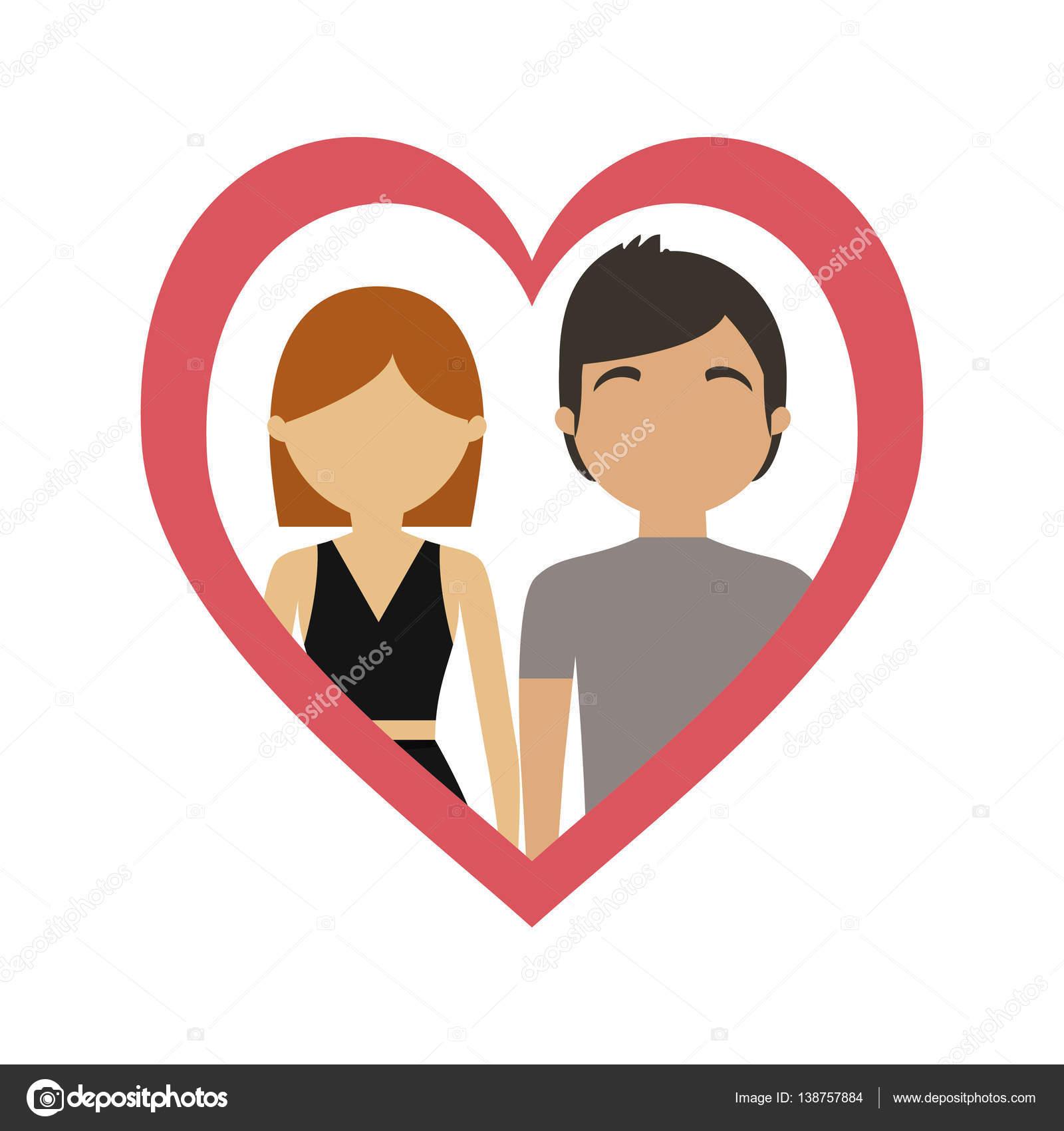 pareja amor corazón marco juntos — Archivo Imágenes Vectoriales ...