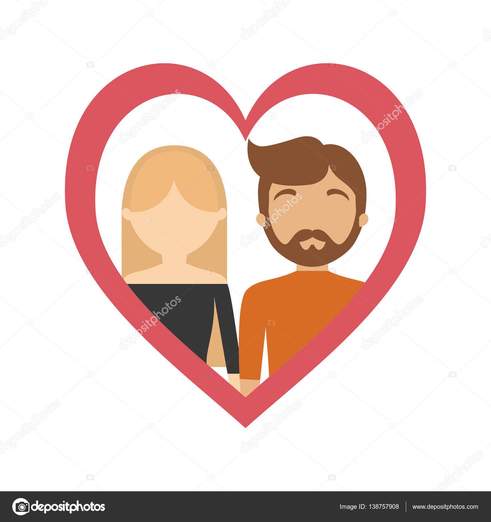 paar Liebe Rahmen Herz Beziehung — Stockvektor © djv #138757908