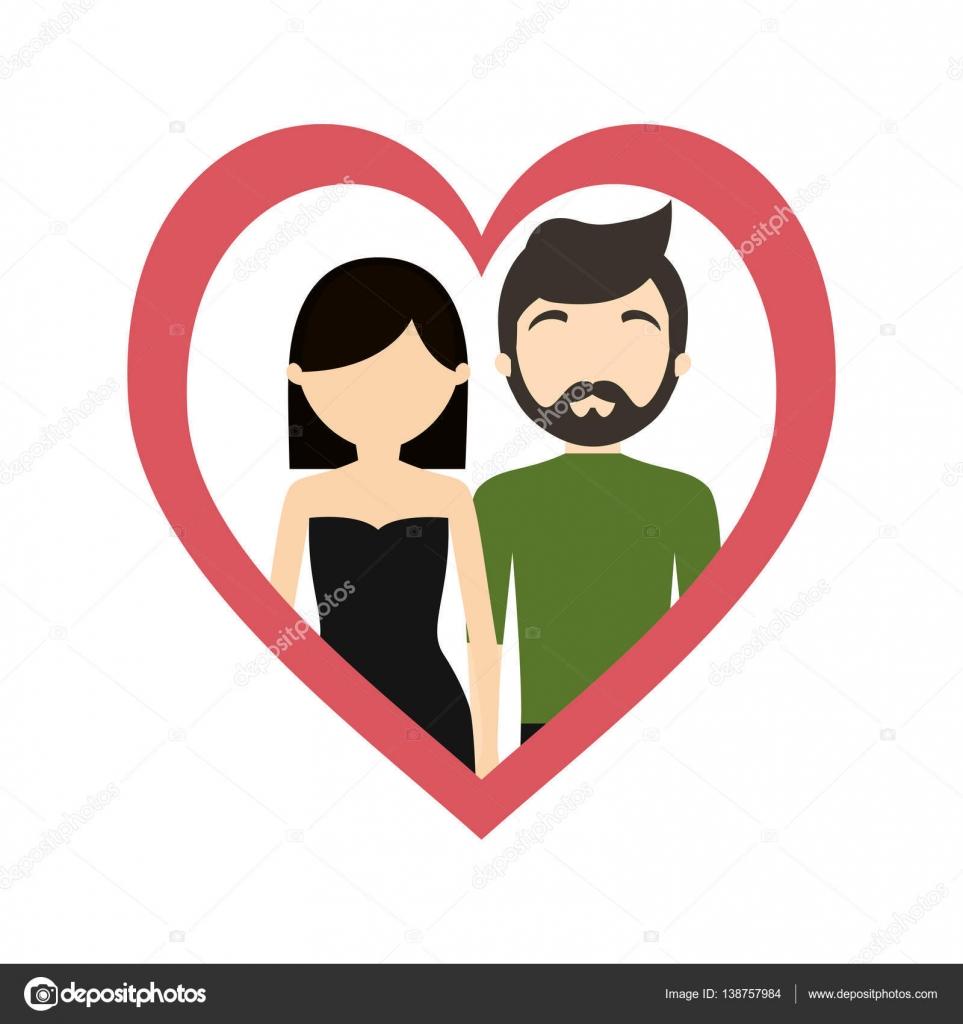 paar Liebe Rahmen Herz modisch moderne — Stockvektor © djv #138757984