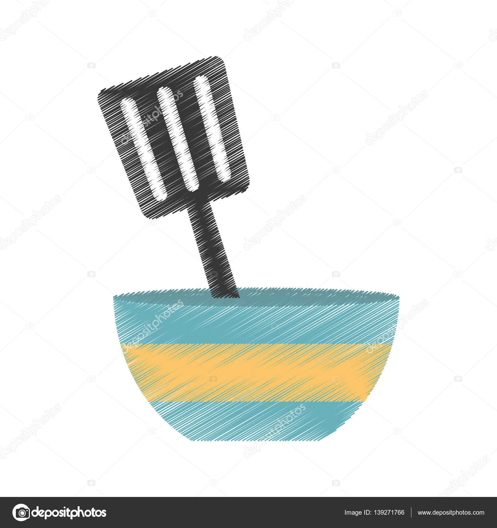 blaue und gelbe Schüssel Spatel Utensil Küche zeichnen — Stockvektor ...