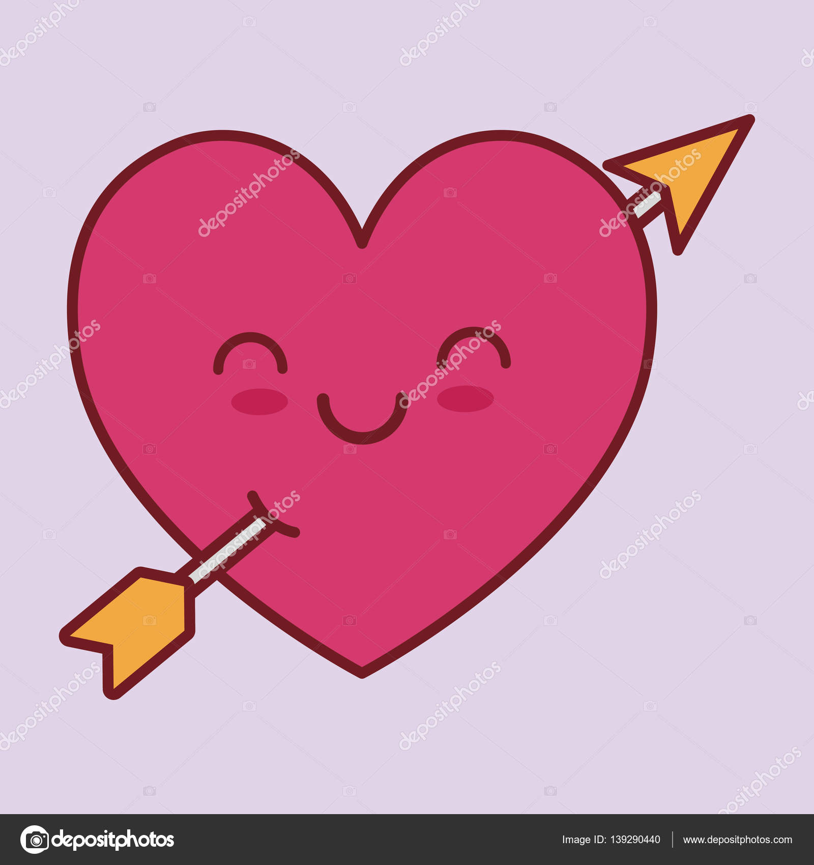 Giorno di San Valentino cuore fumetto correlati kawaii stile icona immagine  illustrazione disegno vettoriale \u2014 Vettoriali di