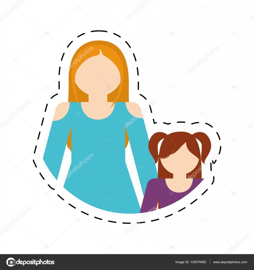 Rodzina Matka I Córka śmieszne Wytnij Wiersz Grafika