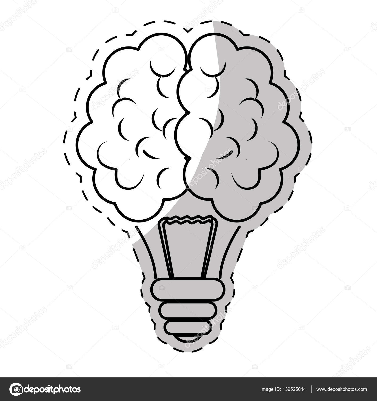 Brain And Lightbulb Bright Idea Icon Image Vector Illustration Design By Djv