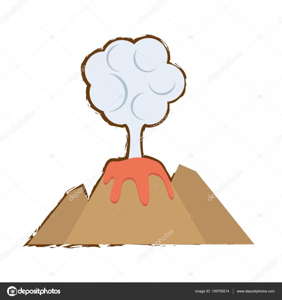 Dibujos Volcanes Color De Nube De Volcan Erupción Lava Montaña