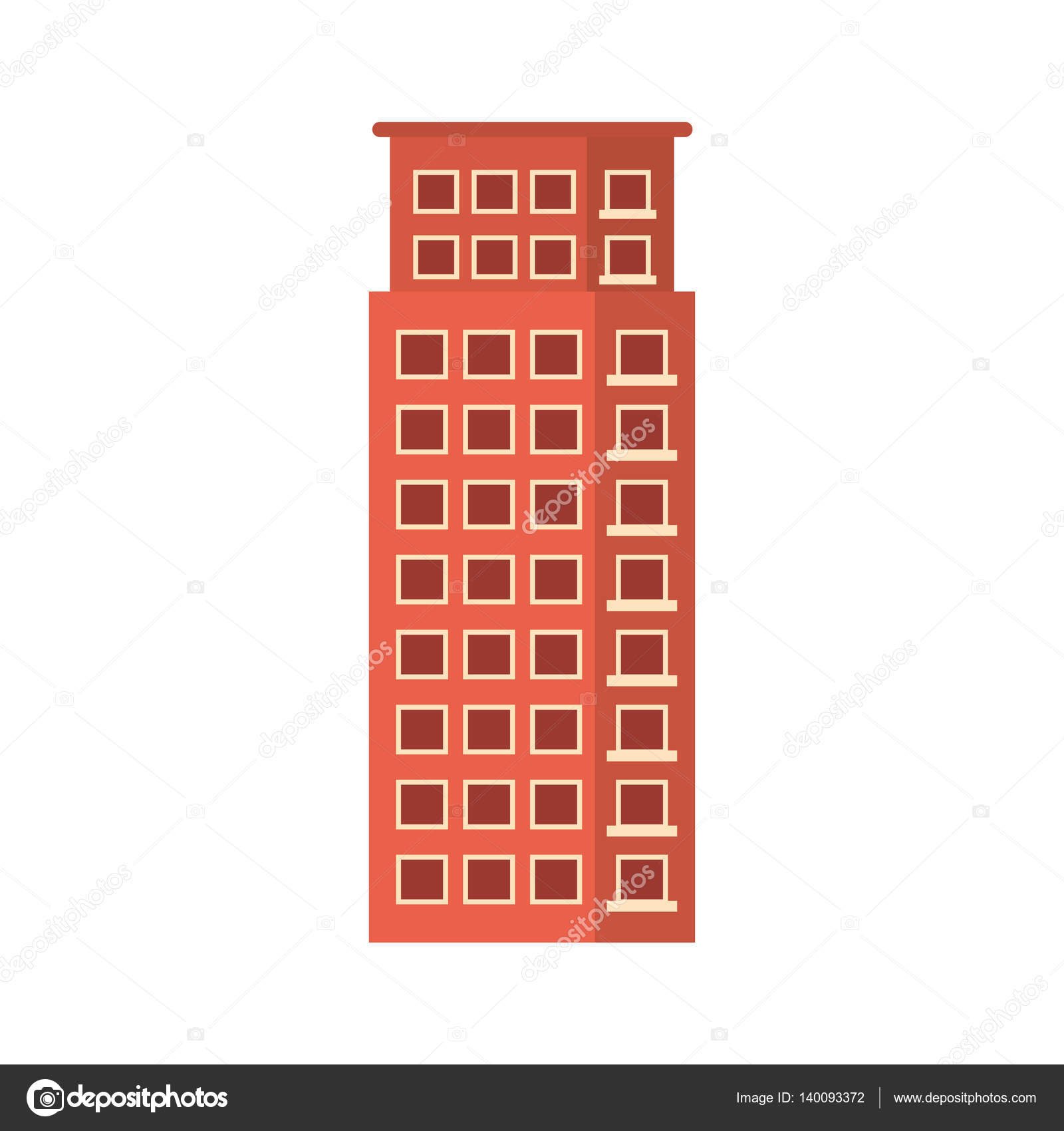 Red Apartment Building Line Sticker, Vector Illustration Icon U2014 Vector By  Djv