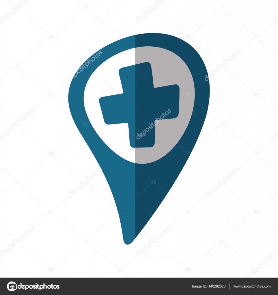 Kreuz Karte.Zeiger Karte Krankenhaus Kreuz Lage Schatten Stockvektor Djv