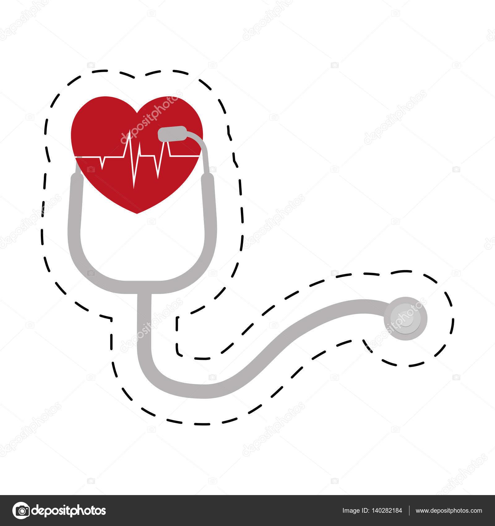 Stethoskop Herz Pulsdiagnose Schnittlinie — Stockvektor © djv #140282184