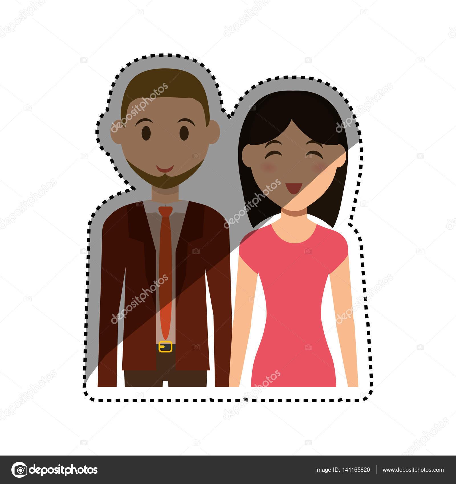 Dessin Anime Mignon Couple Image Vectorielle Djv C 141165820