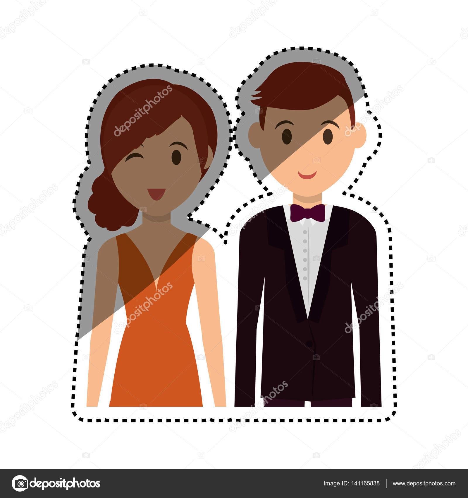 Dessin Anime Mignon Couple Image Vectorielle Djv C 141165838