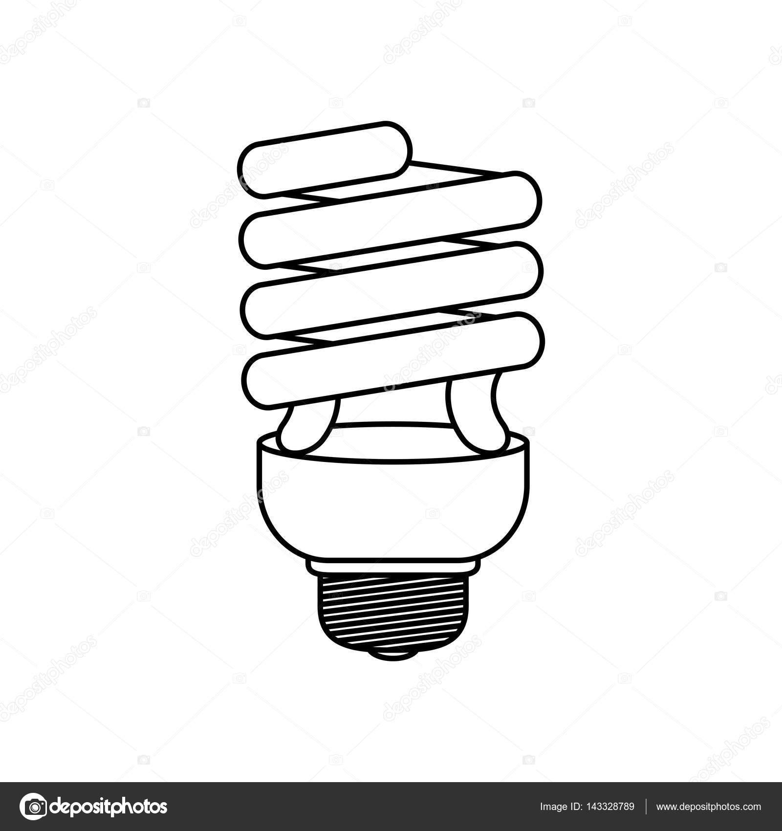 Энергосберегающая лампочка картинка контур