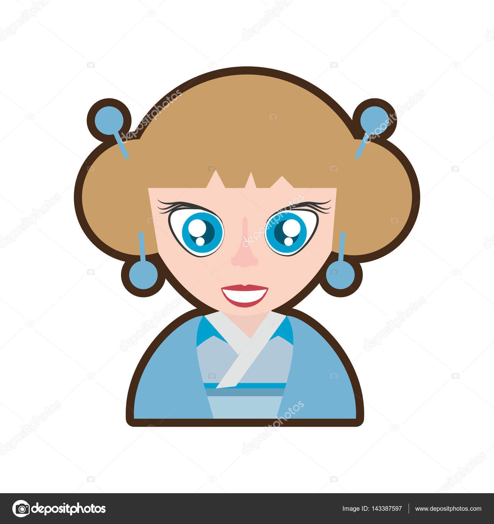 Dibujos animados chica japonesa tradicional blue kimono vector ilustración  eps 10 - dibujo japones azul — Vector de djv — Vector de djv 1958da383d46