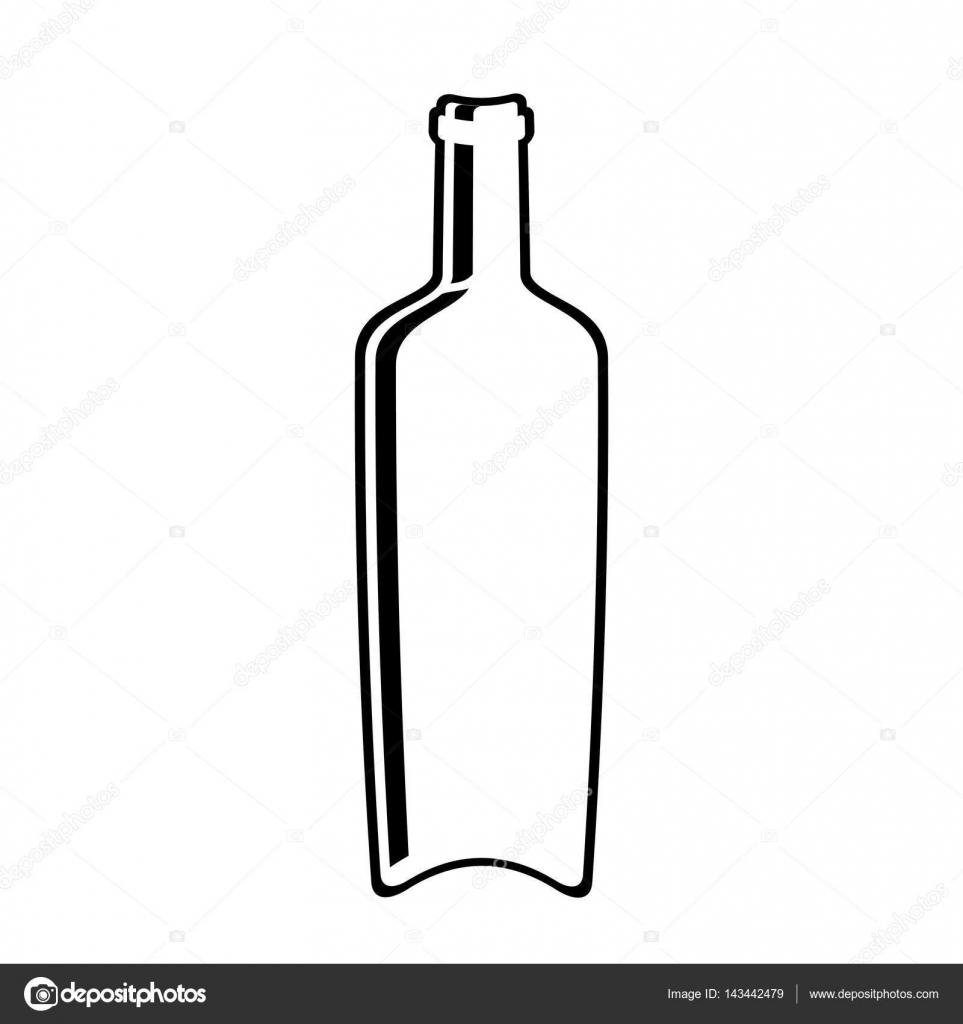 design en ligne verre bouteille vin — image vectorielle djv © #143442479