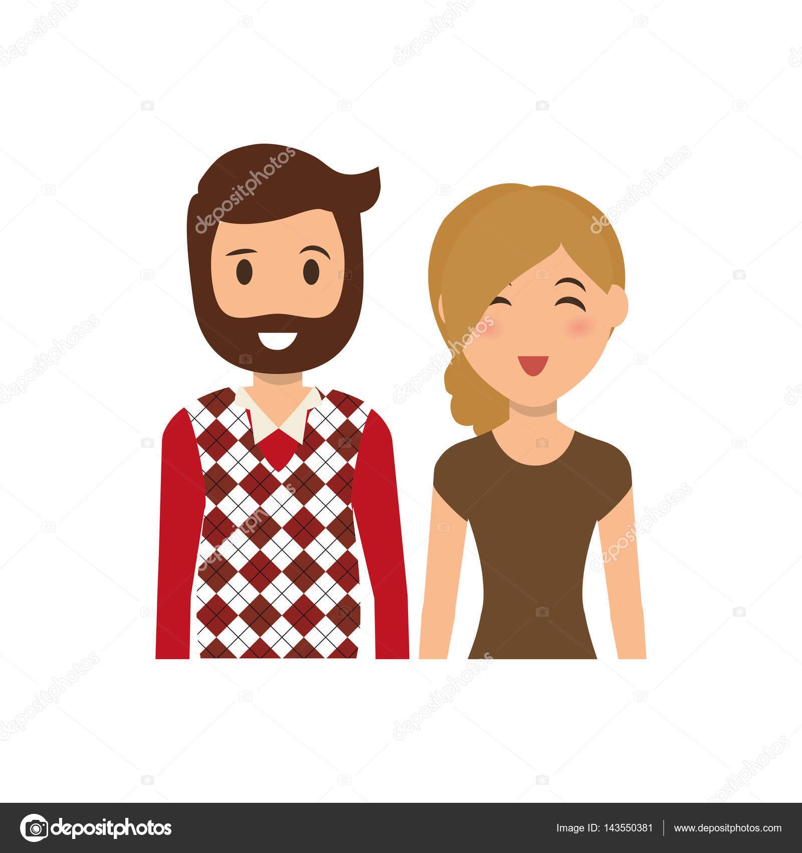 Dessin Anime Mignon Couple Image Vectorielle Djv C 143550381