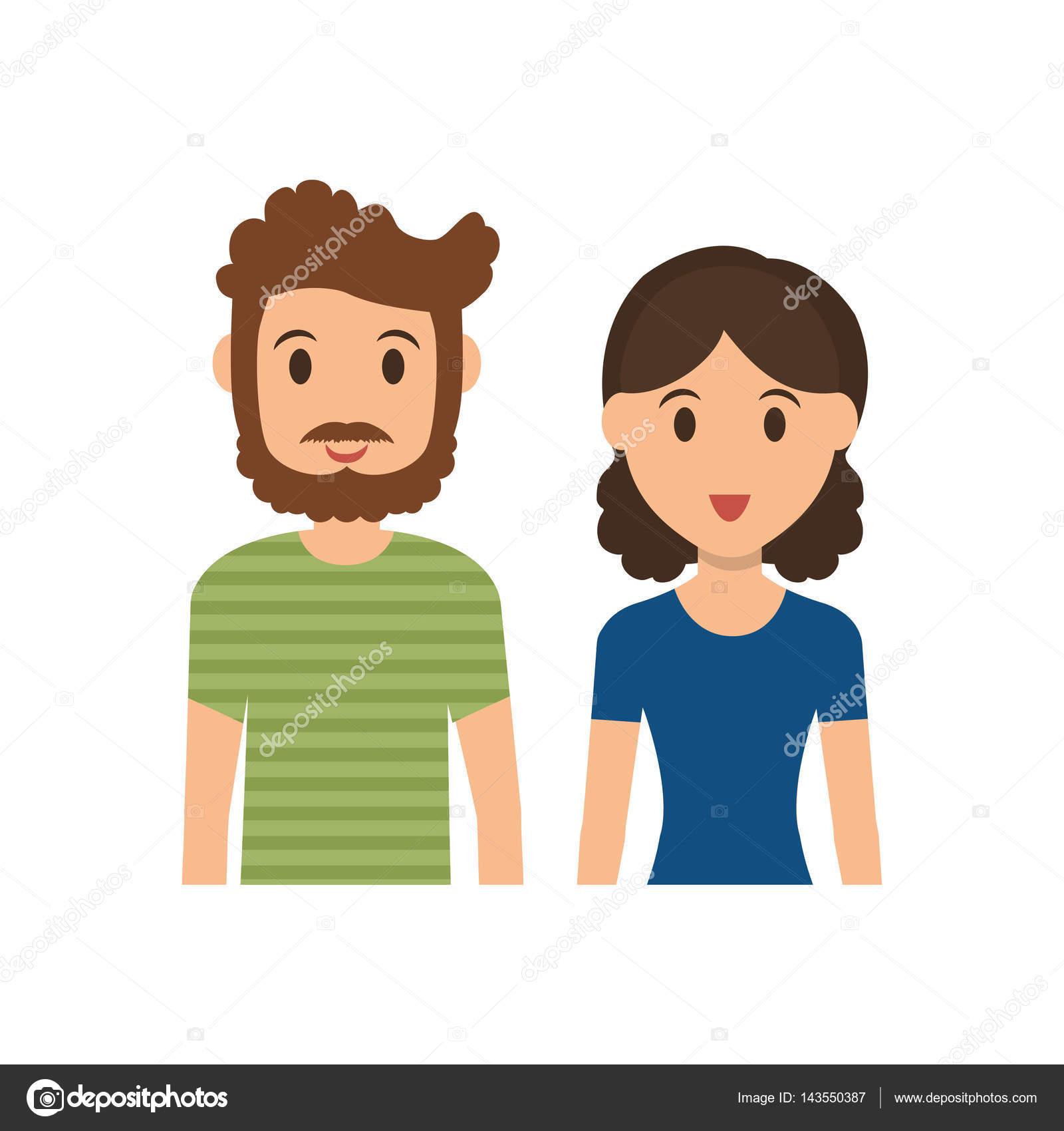 dibujo animado de la pareja mono — Archivo Imágenes Vectoriales ...