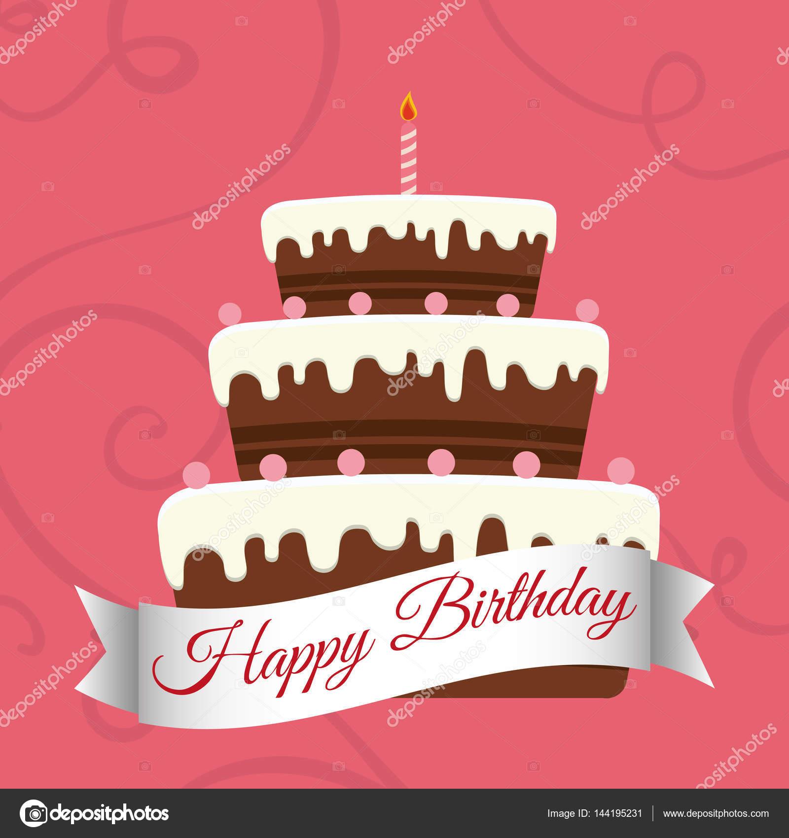 grattis söta Grattis söta cake ljus — Stock Vektor © djv #144195231 grattis söta
