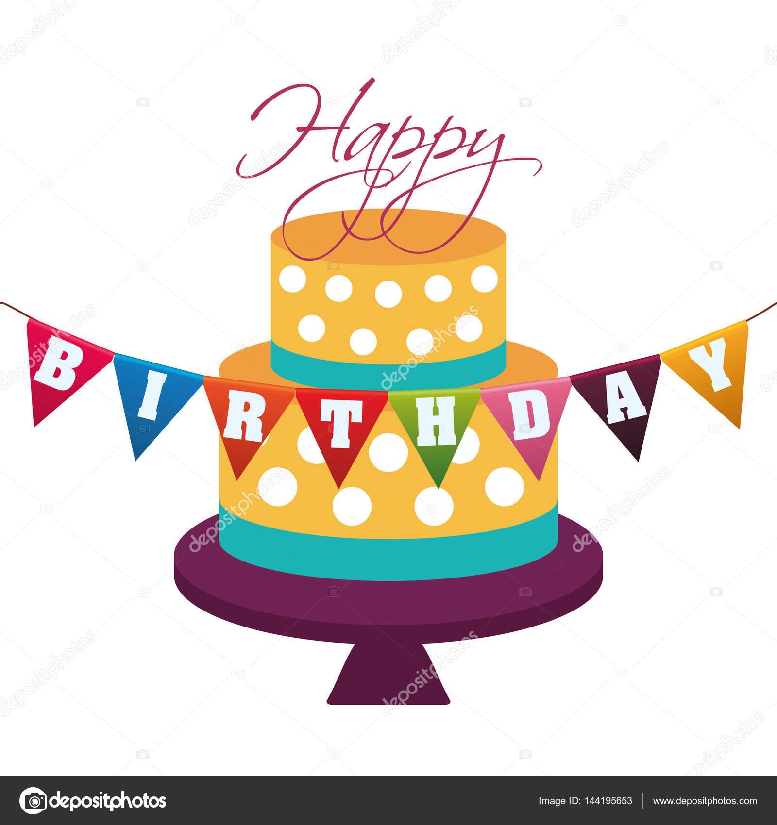 puntos decorativos de torta feliz cumpleaños garland — Archivo ...