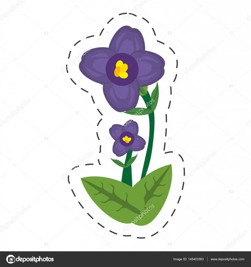 Fleur Violette Africaine Dessin Anime Image Vectorielle Djv