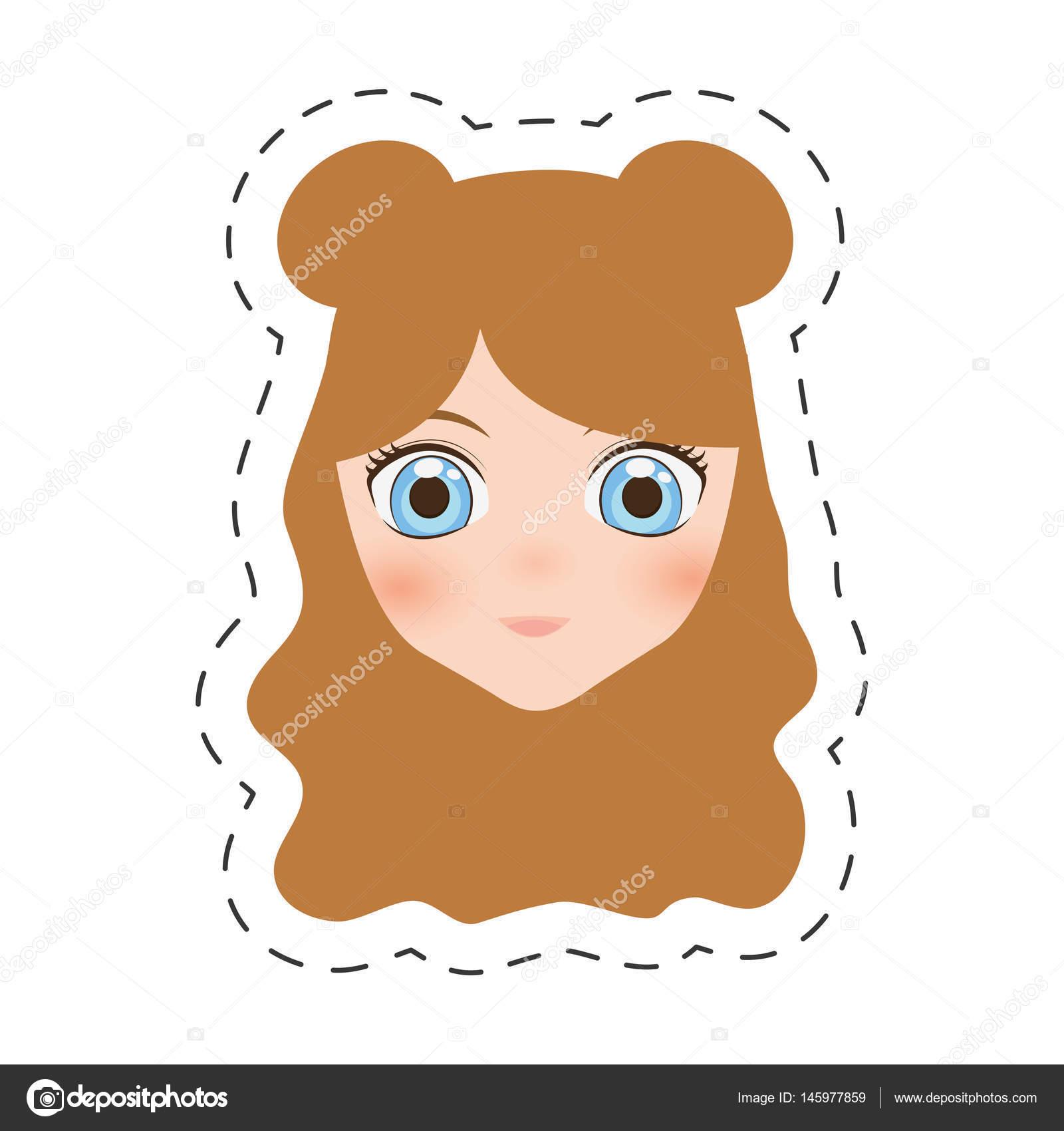 dibujos animados Anime cara niña - línea de corte — Archivo Imágenes ...