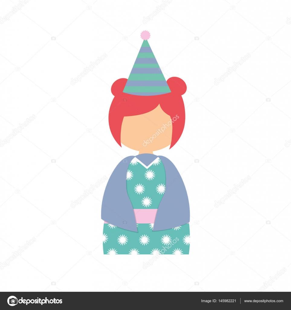 Anime Avatar Kimono hat Partei — Stockvektor © djv #145982221