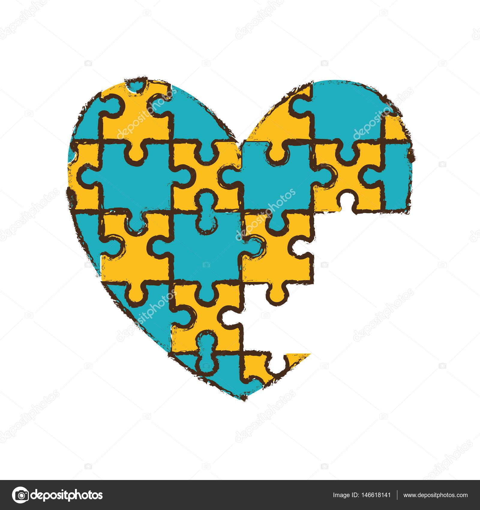 imagen de piezas de puzzle de corazón — Archivo Imágenes Vectoriales ...