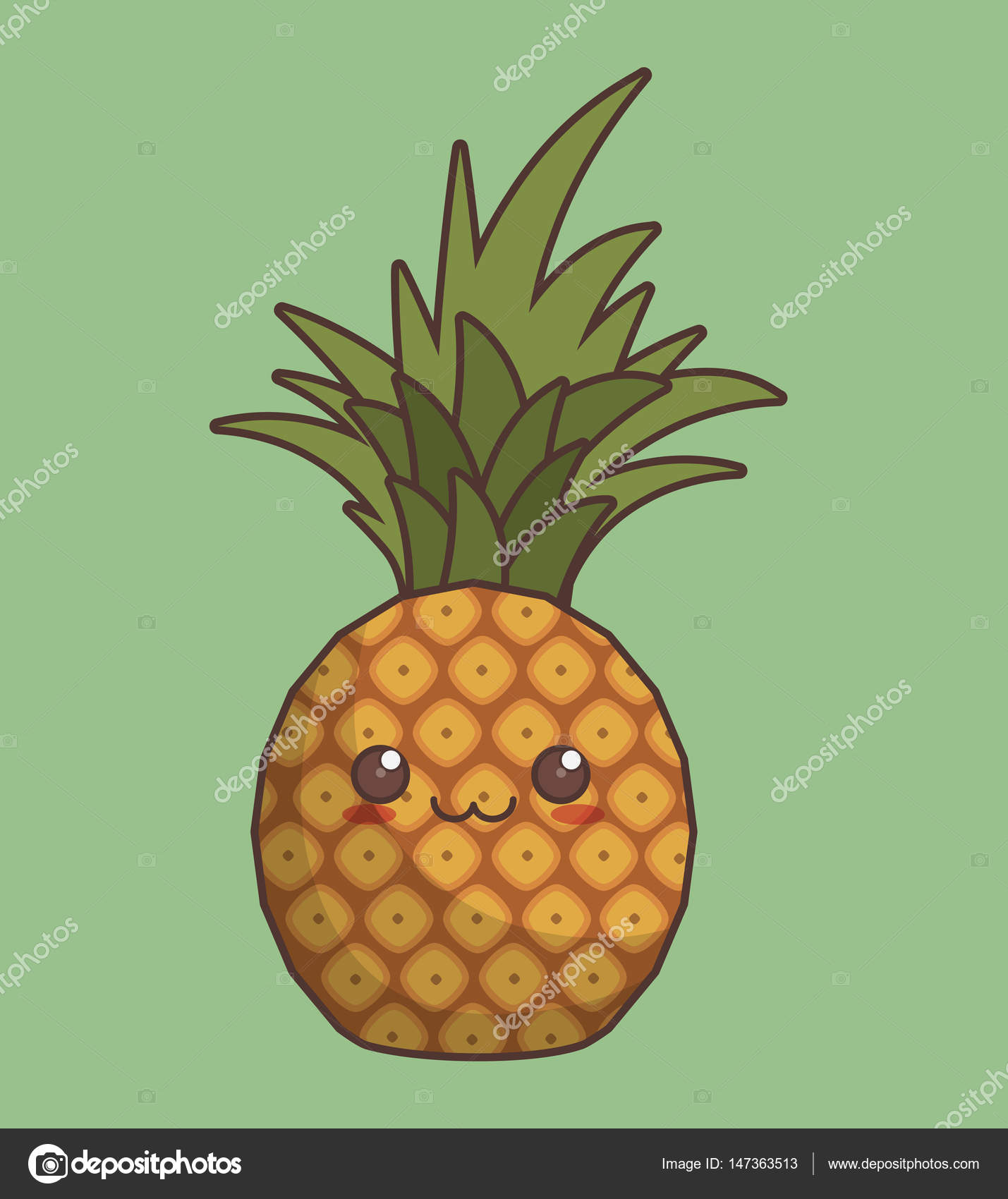 Icona Della Frutta Kawaii Vettoriali Stock Djv 147363513