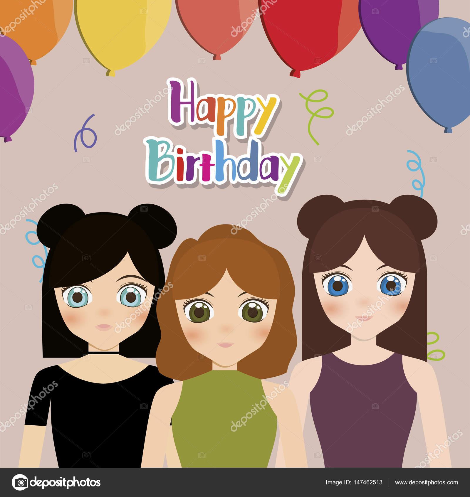 d22bd7256 Tarjeta del feliz cumpleaños con globos y anime girls. diseño colorido.  Ilustración de vector — Vector de ...