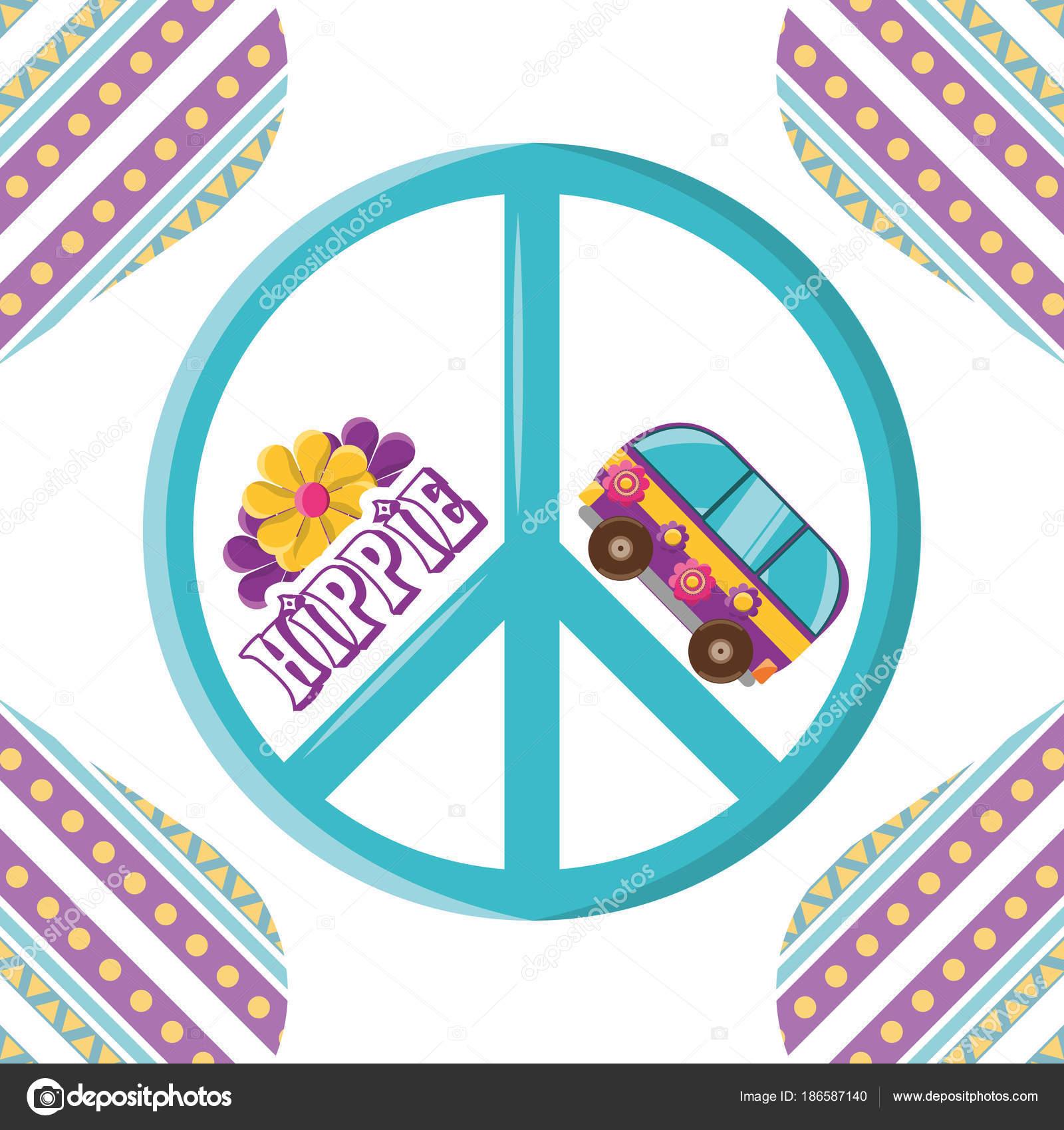 Van Avec Concept Hippie Fleur Image Vectorielle Djv C 186587140