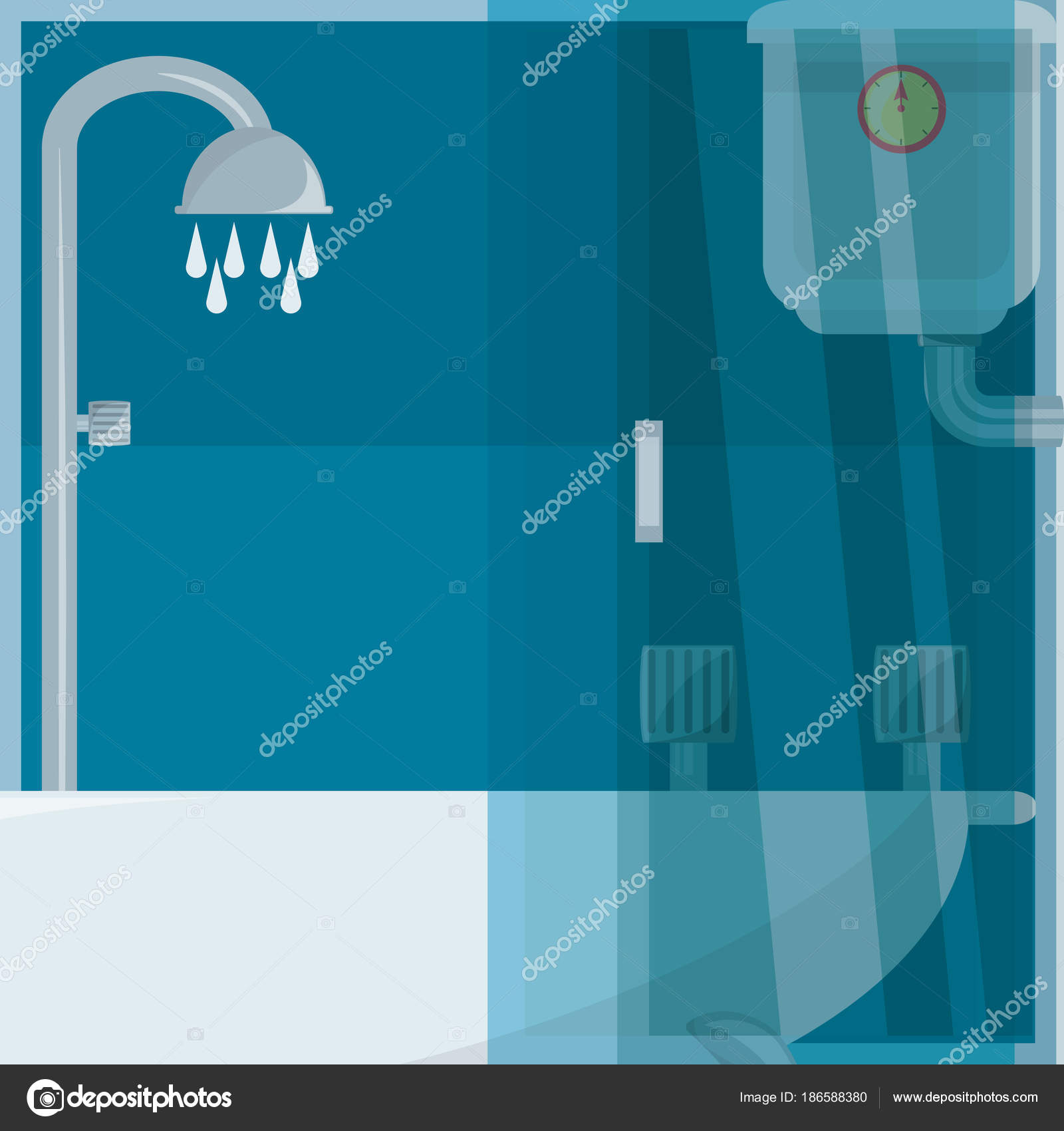 flat set icon shower stall and heating — Stock Vector © djv #186588380