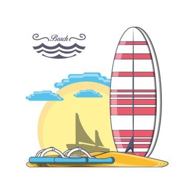 surfboard on the beach design