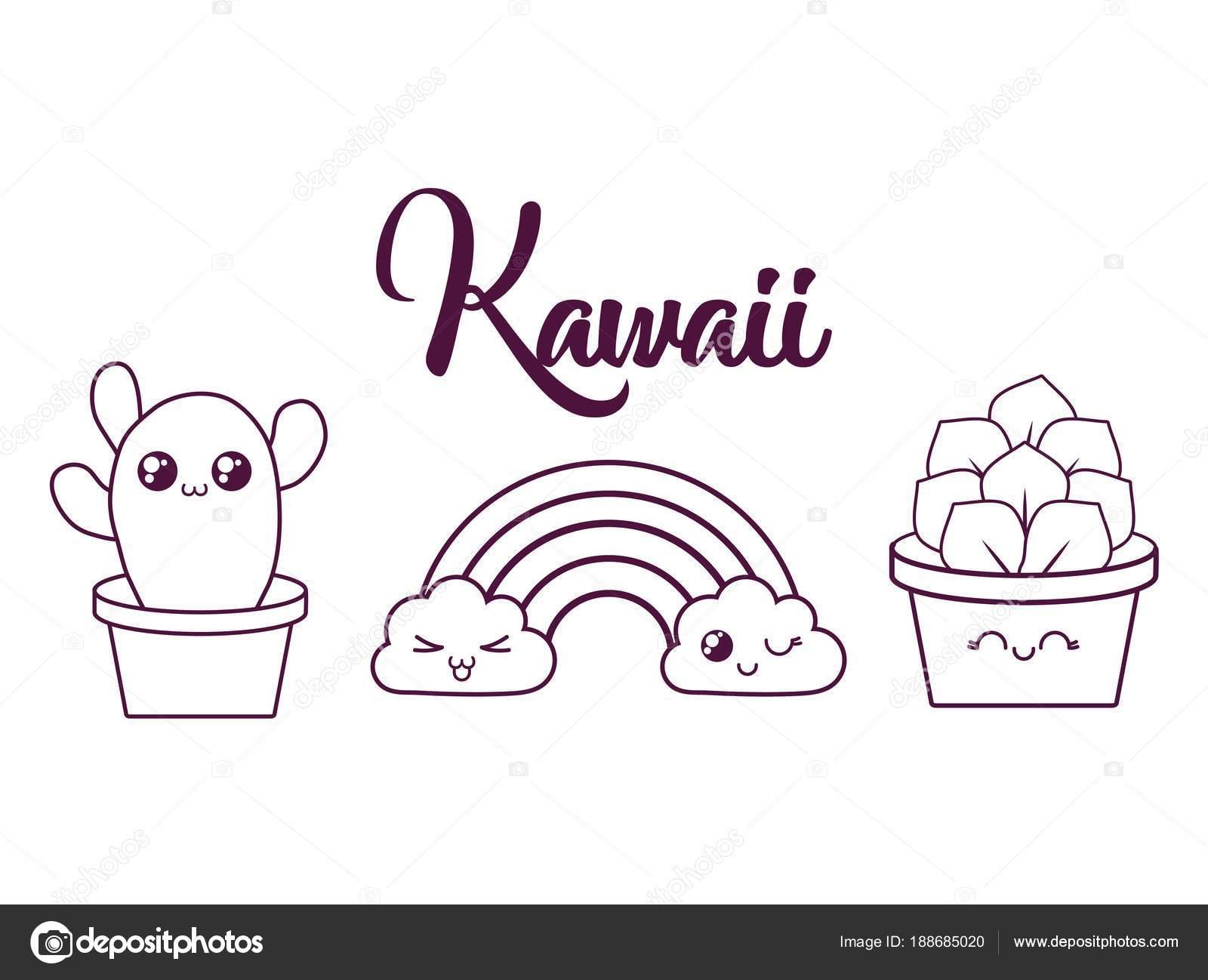 Cactus Kawaii Para Colorear Un Diseño De Maceta Cactus Kawaii