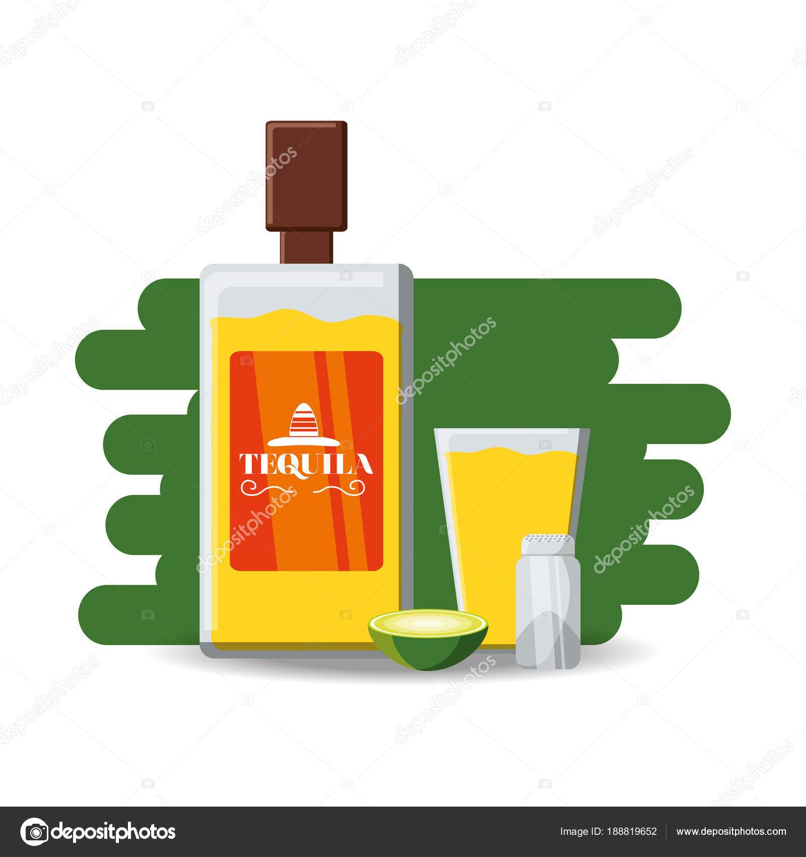sal de botella de tequila y rodaja de Lima — Archivo Imágenes ...