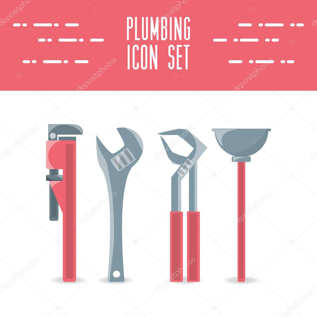flat set icon tools plumbing