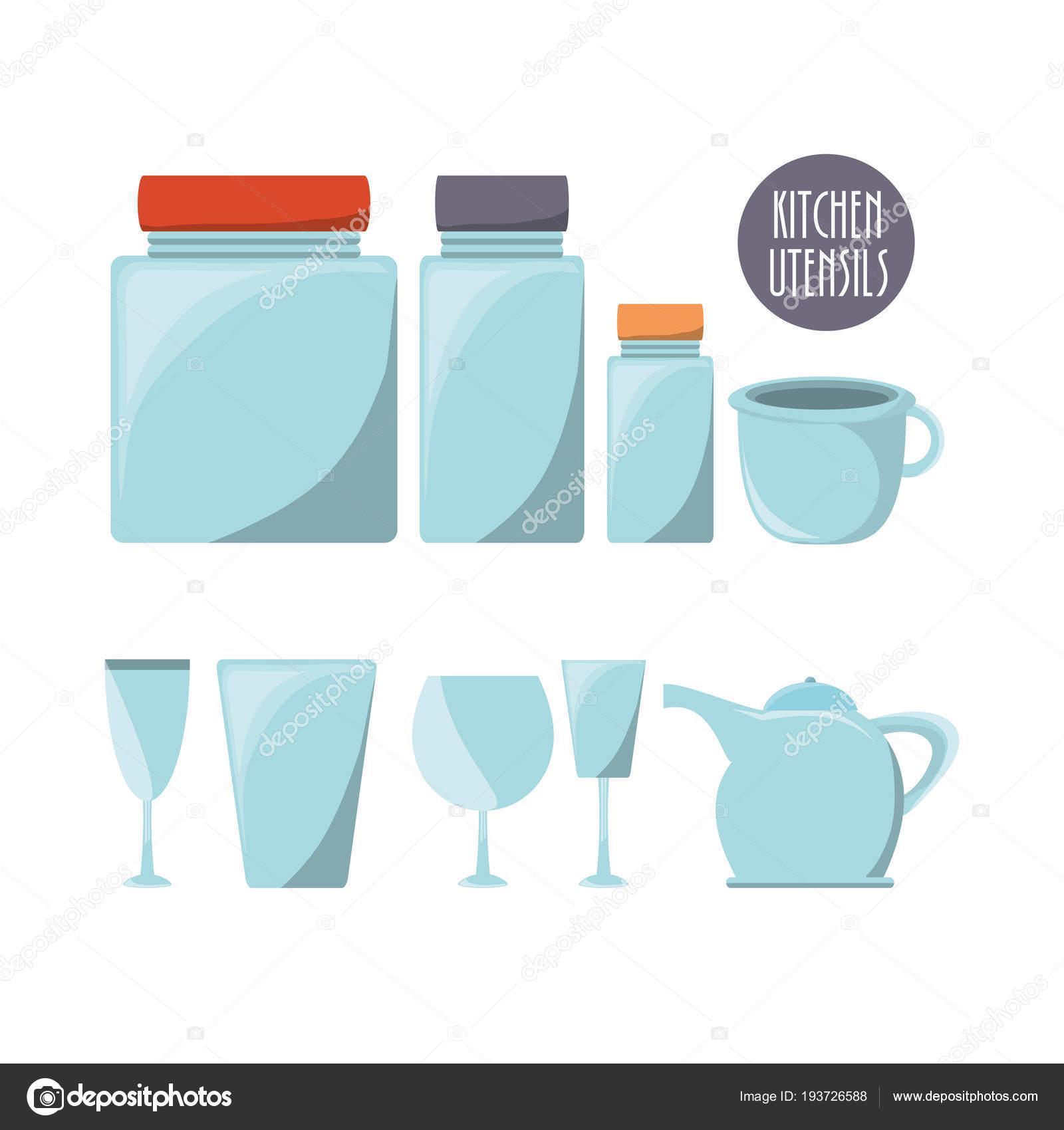 flat kitchen utensils glass and glass jars — Stock Vector © djv ...