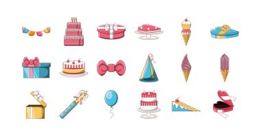 Happy birthday icon set pack, High Quality variety symbols Vector illustration icon