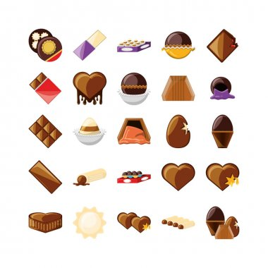 Chocolate icon set pack, High Quality variety symbols Vector illustration icon