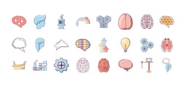 Brain icon set pack, High Quality variety symbols Vector illustration icon