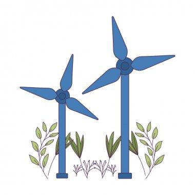 Isolated eco wind mills vector design
