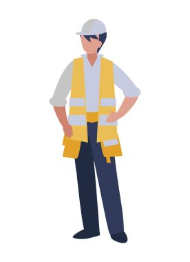 Isolated architect avatar man with white helmet vector design