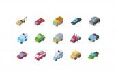 Izolált izometrikus autók ikonkészlet vektor kialakítása