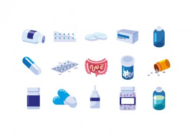 Isolated medical care icon set vector design