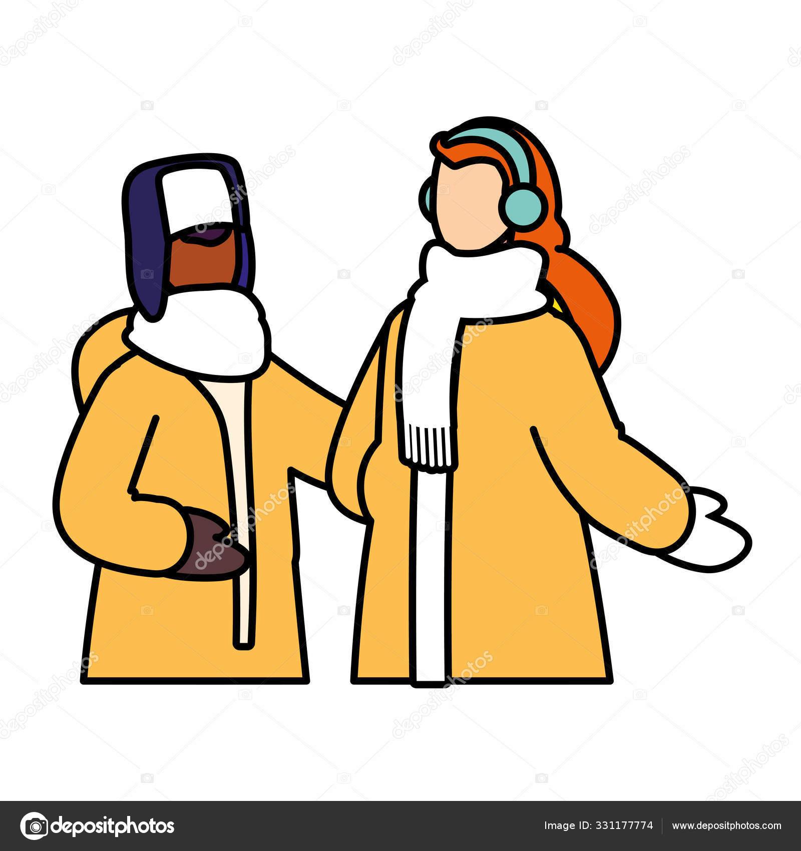 Пара человек в зимней одежде на белом фоне — Векторное ...