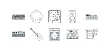 Music and dj icon set pack, High Quality variety symbols Vector illustration icon