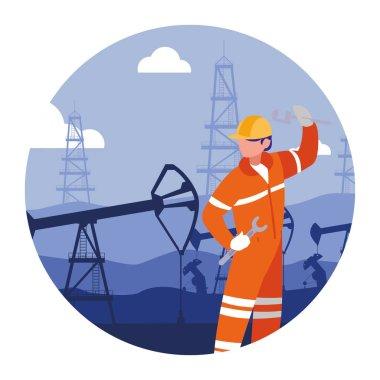 oilman worker on production line petrol refinery