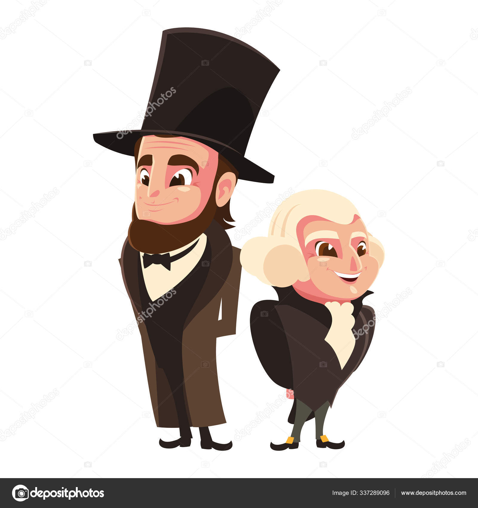 Desenho Animado De Presidentes George Washington E Abraham Lincoln