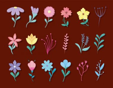 "Картина, постер, плакат, фотообои ""spring flowers icon set over red background, colorful design"", артикул 353506098"