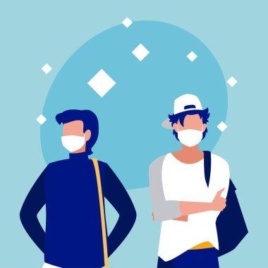 Men with masks vector design