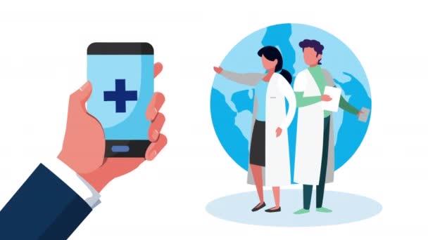 Online-Gesundheitstechnologie mit Smartphone und Ärzten