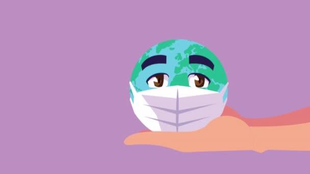 Erde Planet mit Gesichtsmaske Comic-Figur