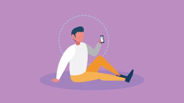 Bildung online mit männlichen Studenten per Smartphone