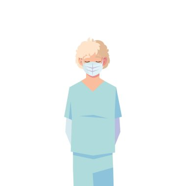 Man doctor with uniform and mask vector design